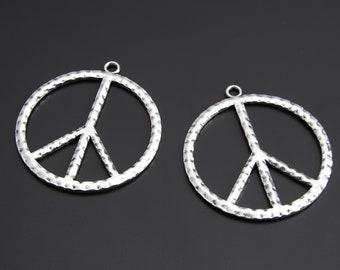 10pcs Antique Silver Peace Sign Charms Pendant A2423