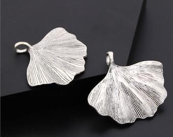 5pcs Antique Silver Ginkgo Biloba Leaf Charms Pendant A212