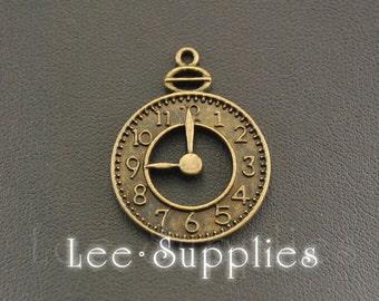 10pcs Antique Bronze Alloy Metal Alarm Clock Charms Pendant A329