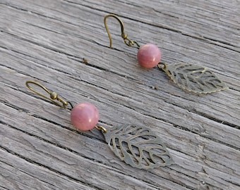 Rhodonite and antique gold leaf drop earrings