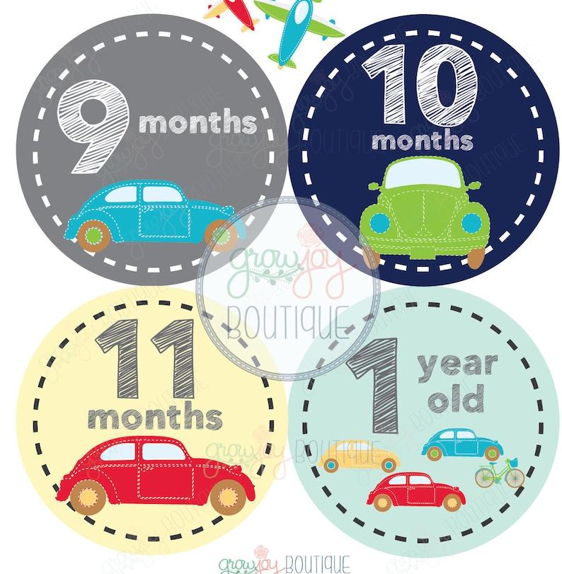 Baby Boy Monthly Milestone Stickers Baby/'s First Year stickers Cars Milestones Baby Boy Monthly Stickers Cars Airplanes Baby Boy Months