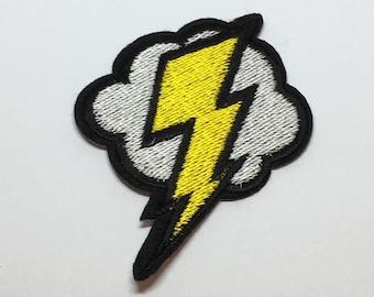 Lightening Bolt Cloud Iron on Patch