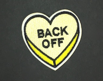Back off Love Heart anti-valentine Iron patch diy appliqué flair