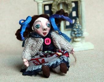Pocket Doll/ Girl Gift/ Doll Brooch/ Doll Miniature/ Brooch Gift/ Art Doll Brooch/ Small Doll/ Clay Art Brooch/ Doll Jewelry/ Mini Toy Doll