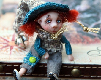 Birthday gift doll brooch/ Girl gift brooch/ Unique tiny doll/ Jewelry art/ Boho doll brooches/ OOAK miniature doll/ Handmade miniature/