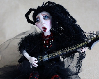 Gothic Art Doll Lady With Guitar/ OOAK Art Doll/ Horror Doll/ OOAK Handmade Doll/ Unique Art Doll/  Halloween Gift Black Doll/ Art Figurine