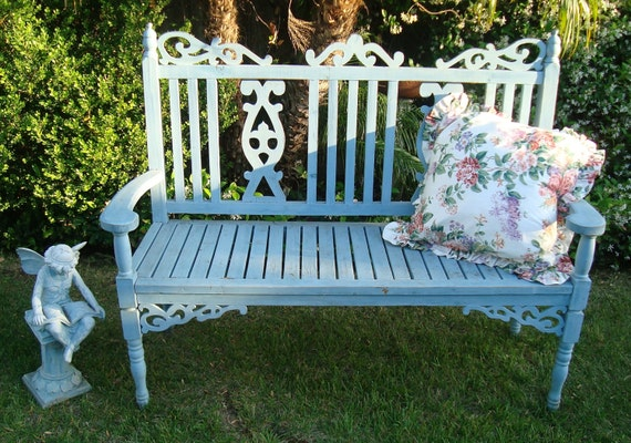 Pleasant Sold Painted Distressed Gothic Victorian French Country Cottage Garden Bench Gingerbread Shabby Chic Pabps2019 Chair Design Images Pabps2019Com