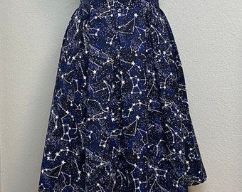 BalletDance Adult Navy Blue Skirt with Fancy Silver Stars