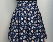 Navy R2D2 and BB-8 Star Wars Droids Characters Printed Adult High Waisted Skater Skirts
