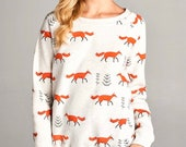 Super Soft White and Orange Fox All Over Print Fleece Lined Sweatshirt