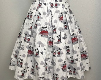d9a82ad07 Vintage Disney Mickey Mouse and Minnie Mouse in Paris Printed Adult High  Waisted Skater Skirts