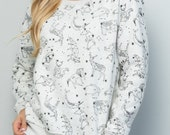 Super Soft White and Black Celestial Space Animal Constellations Print Fleece Lined Sweatshirt