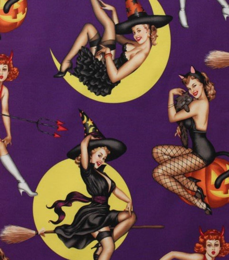 Pin Up Girl Halloween Witches Printed Adult High Waisted Skater Skirts