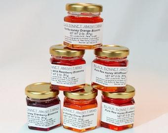 A Pure Raw Honey Gift Samplers of different Varietal Honey 6 (2 oz.) jars, In Gift Box, You choose your sampler of Varietal Honeys
