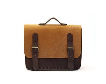 Leather Briefcase, Light & Dark Brown, Classy