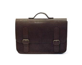Leather Briefcase, Dark Brown, Classy