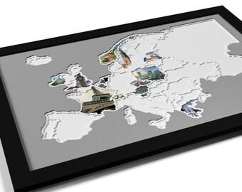 europa landkarte illustration kunst druck poster digitaldruck. Black Bedroom Furniture Sets. Home Design Ideas