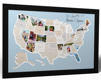 Personalized 50 States Photo Map - A Unique USA Travel Collage
