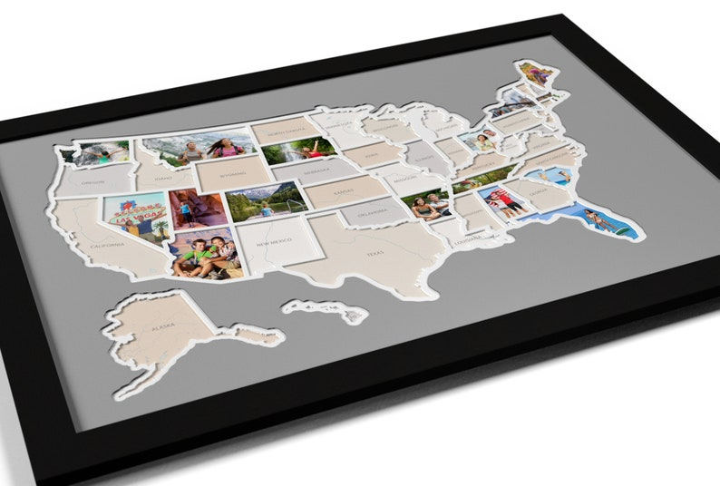 Us Map Photo Collage.50 States Photo Map A Unique Usa Travel Collage Etsy