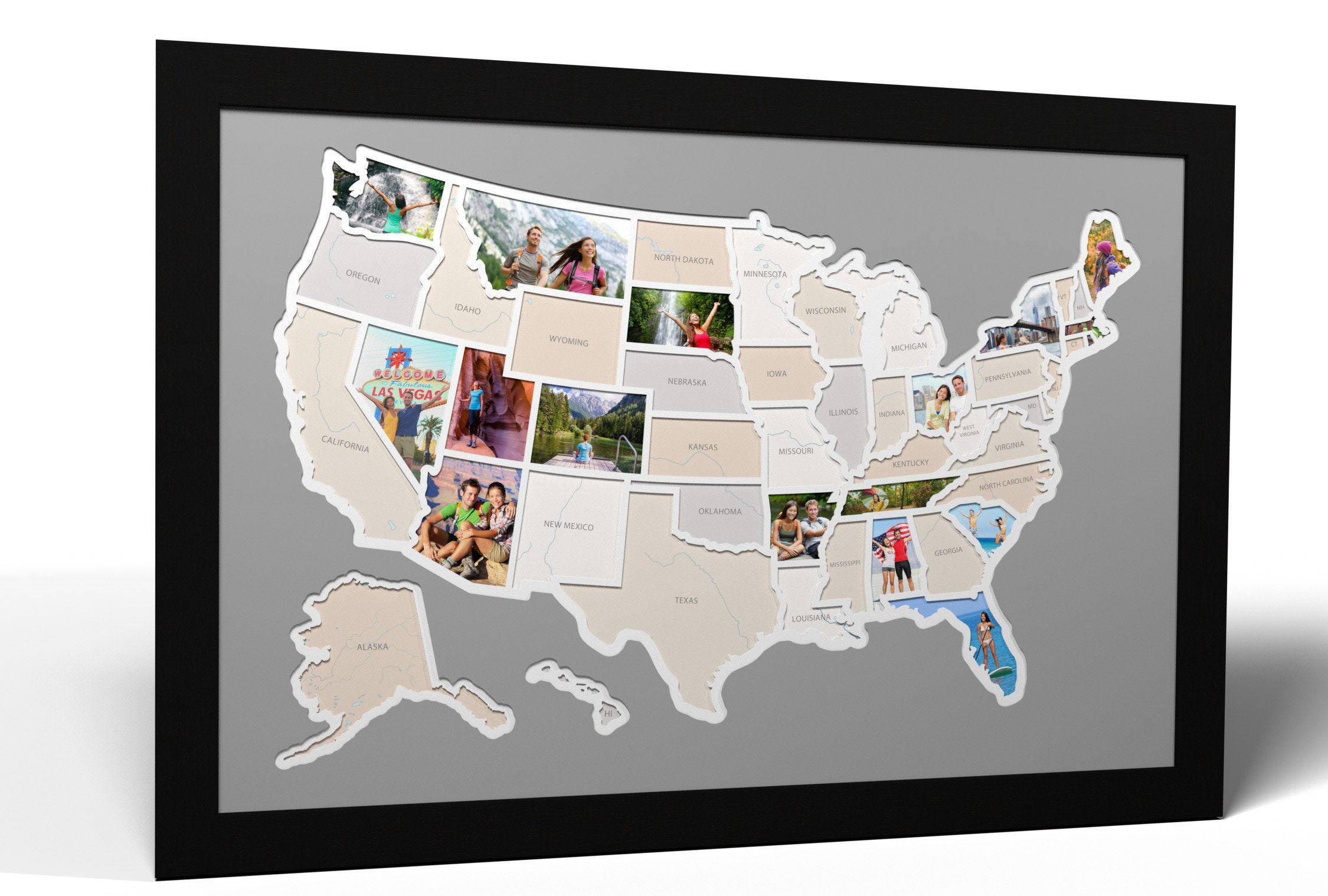 Map Of England 790 Ad.50 States Photo Map A Unique Usa Travel Collage Etsy