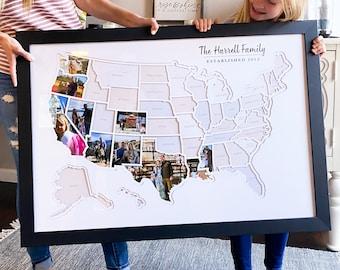 Personalized USA Photo Map - 50 States Travel Map Gift