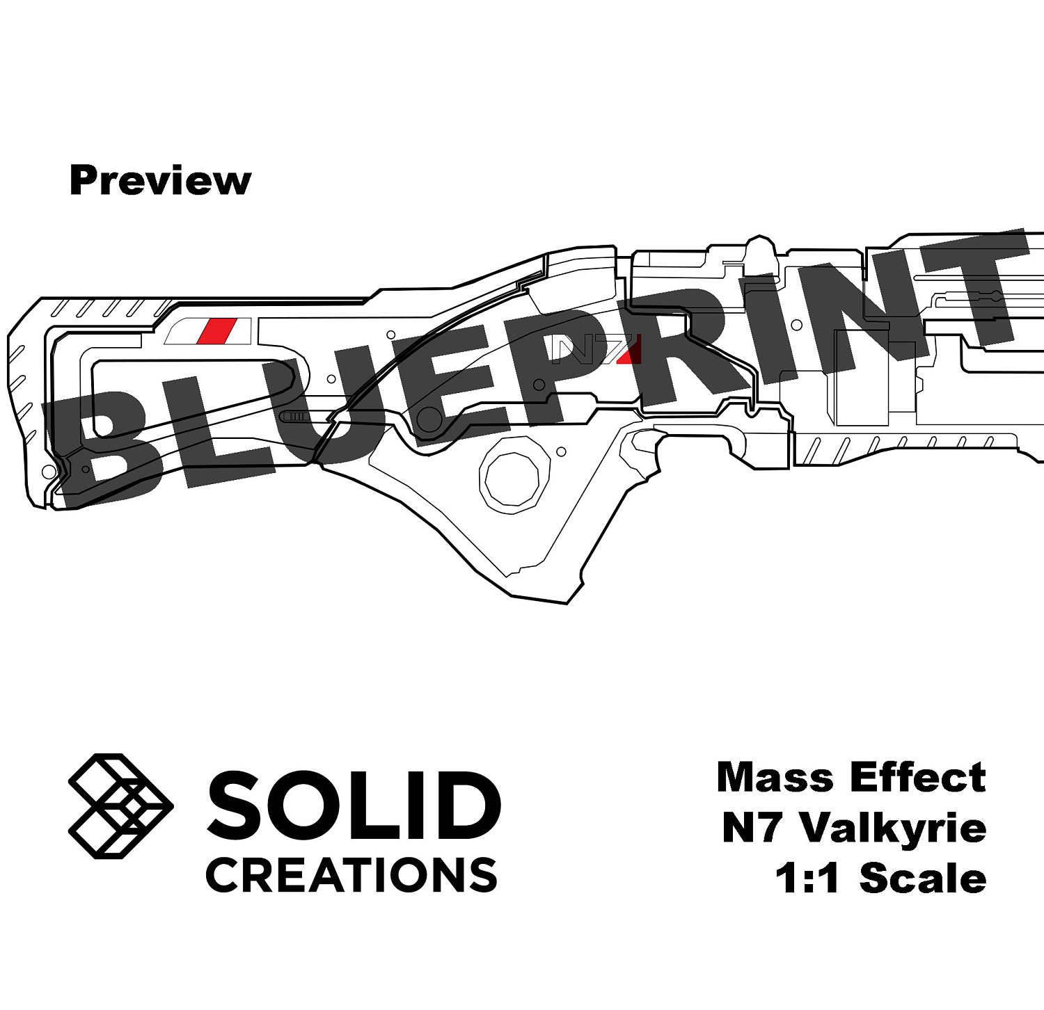 N7 valkyrie blueprint mass effect inspired prop template foam this is a digital file malvernweather Choice Image