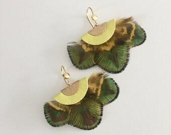 Amazon Yellow Peacock earrings