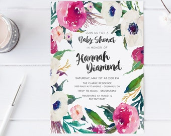 Flower Baby Shower Invitation, Girl, Unique, Magenta, Ivory, Watercolor, Boho, Printable [205]