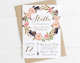 1st birthday invitations etsy