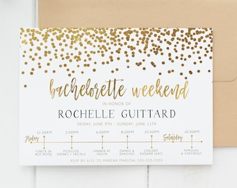 Bachelorette Party Invitation, Black and Gold, Glitter, Bachelorette Weekend Itinerary  [327n]