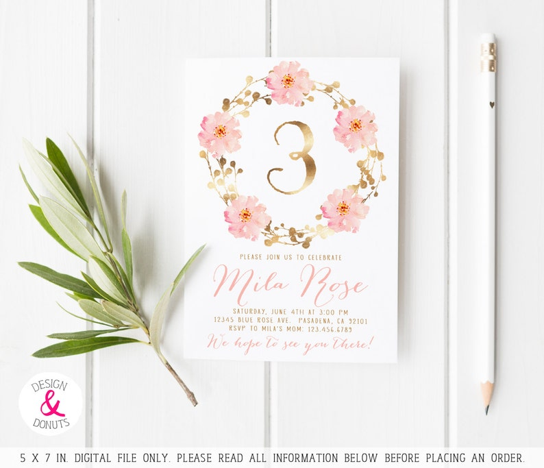 Pink And Gold First Birthday 3rd Invitations Girl