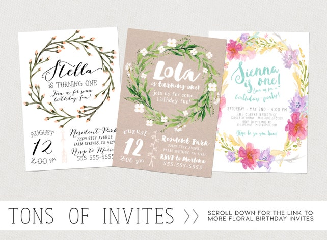 Pink And Gold First Birthday 3rd Invitations Girl Invites Boho Flower Printable 334