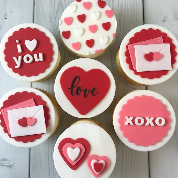 Valentine S Day Cupcake Toppers Edible Fondant Set Of Etsy