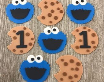 Cookie Monster Cupcake Toppers - Edible Fondant - Set of 12
