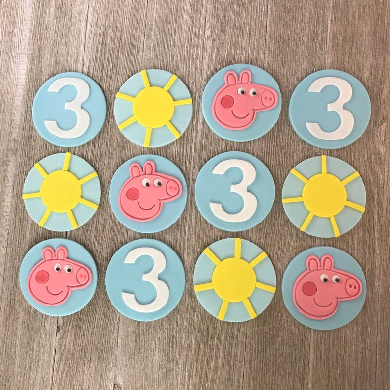 Edible Fondant Set of 12 Peppa The Pig Inspired Cupcake Toppers
