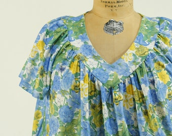Blue Floral Dress with Back Tie  90s A-line Floral Grunge