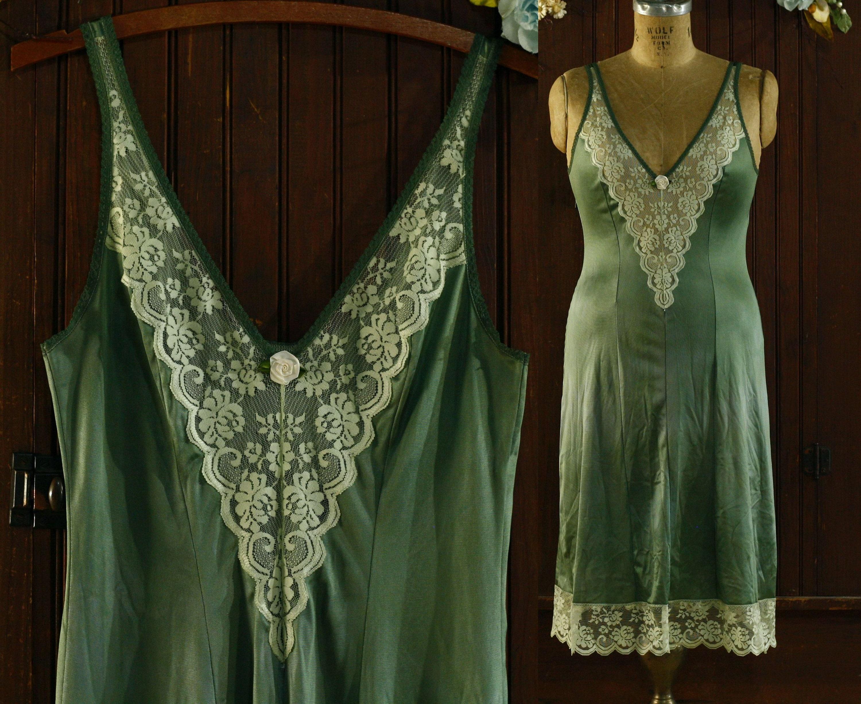 80s Dresses | Casual to Party Dresses Dusty Green Lace Trim Deep V Nylon Slip Dress 80s  Fantasia Jc Penney 36 $42.00 AT vintagedancer.com