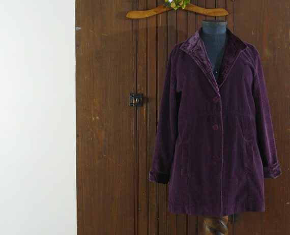 deep purple corduroy & velvet cotton India coat j… - image 8