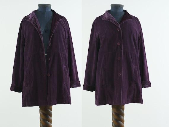 deep purple corduroy & velvet cotton India coat j… - image 1