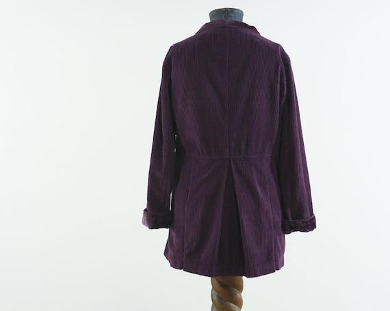 deep purple corduroy & velvet cotton India coat j… - image 2