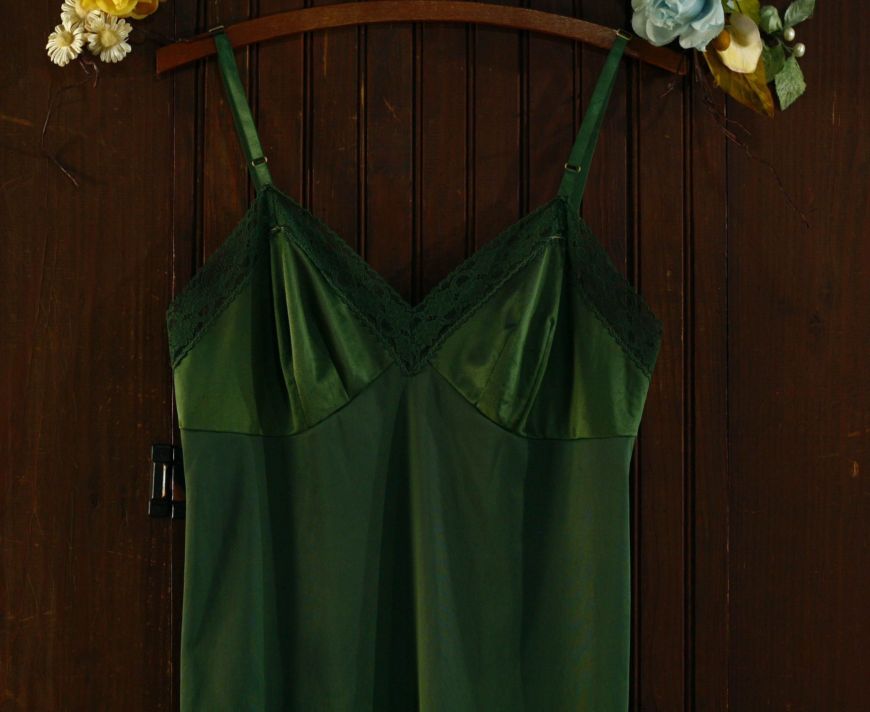 80s Dresses | Casual to Party Dresses Pine Green Lace Trim Nylon Slip Dress 80s  Vanity Fair 36 $42.00 AT vintagedancer.com