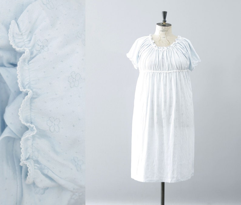 pastel blue Laurel Rose Country Woman plus size empire waist nightgown  2X