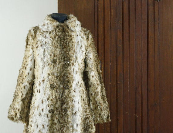 faux fur spotted woman's princess coat 50's 60's /