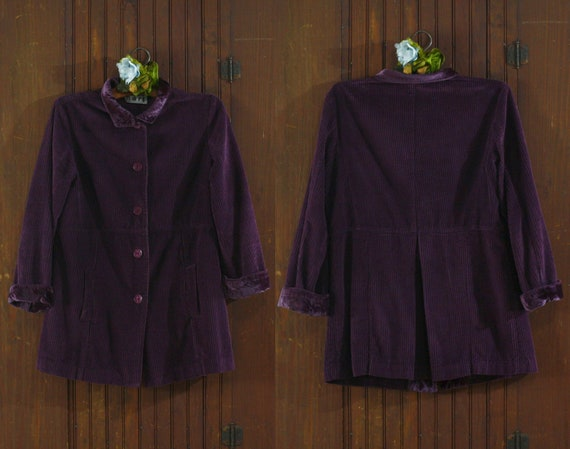 deep purple corduroy & velvet cotton India coat ja