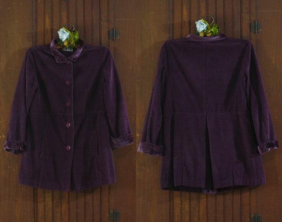 deep purple corduroy & velvet cotton India coat j… - image 3