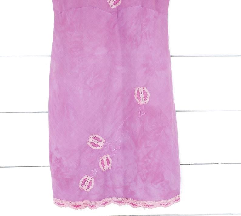 OOPS vintage 60/'s Youth Form pink cotton batiste slip dress nightgown tie dye 3436