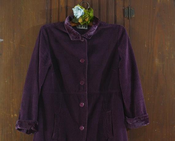 deep purple corduroy & velvet cotton India coat j… - image 4