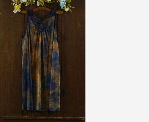 Shadowline orange & blue nylon babydoll nightgown