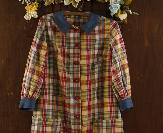 50's plaid cotton farm chore dress // house dress