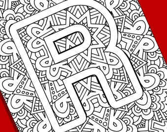 Alphabet Adult Coloring Pages Instant Download Letter K Etsy